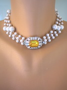 Upcycled Vintage Citrine Rhinestone and Pearl Choker