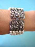 Great Gatsby Marcasite and Pearl Bracelet