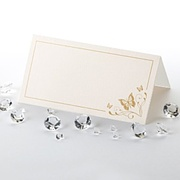 50 Elegant Ivory and Gold Butterfly Place Cards
