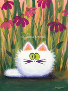 White Cat With Coneflowers