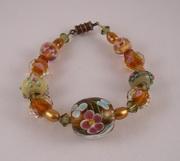 Art glass, swarovski, pearl bracelet
