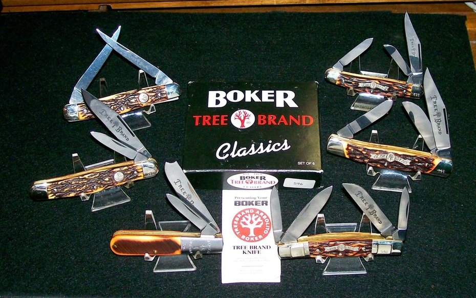 Hienr. Boker Baumwerk Solingen Germany Alemania Olde Stag & Tree Brand Classics Collection 6 Knives