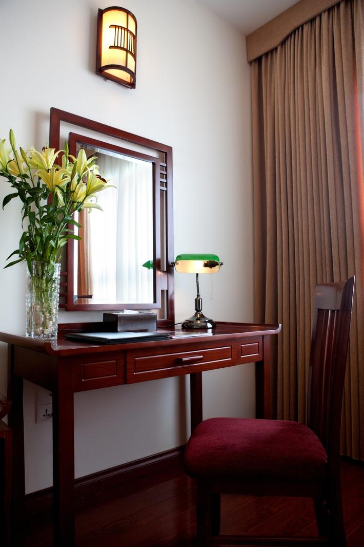 Working desk in Hanoi Imperial Hotel room