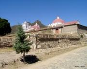 Church atop Zapotec Temple ruins, Oaxaca Valley, Mexico