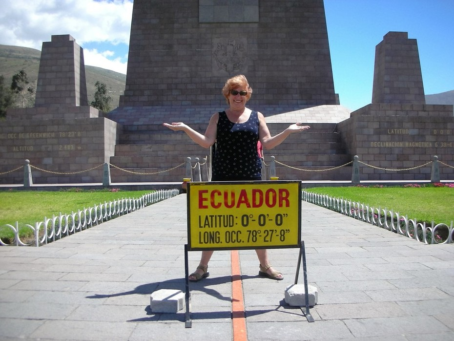 Ann travels the world-at Mitad Del Mundo (Equator) near Quito, Ecuador