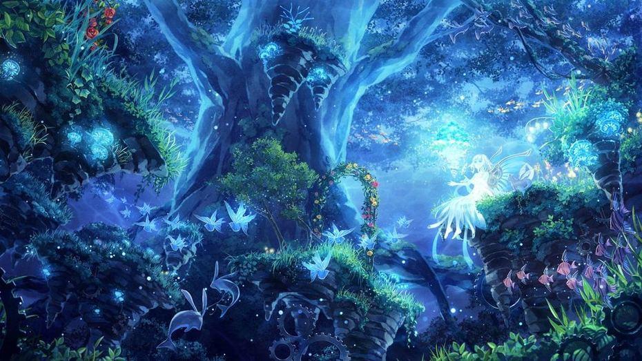 Magical-Blue-Forest-Wallpaper