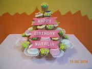 38 Cupcakes - cake on a stand with fondant name plates