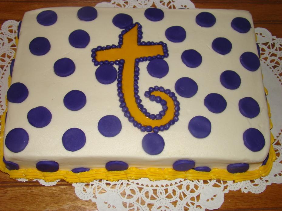 Stupendous Lsu Theme Color Cake Cake Decorating Community Cakes We Bake Personalised Birthday Cards Veneteletsinfo