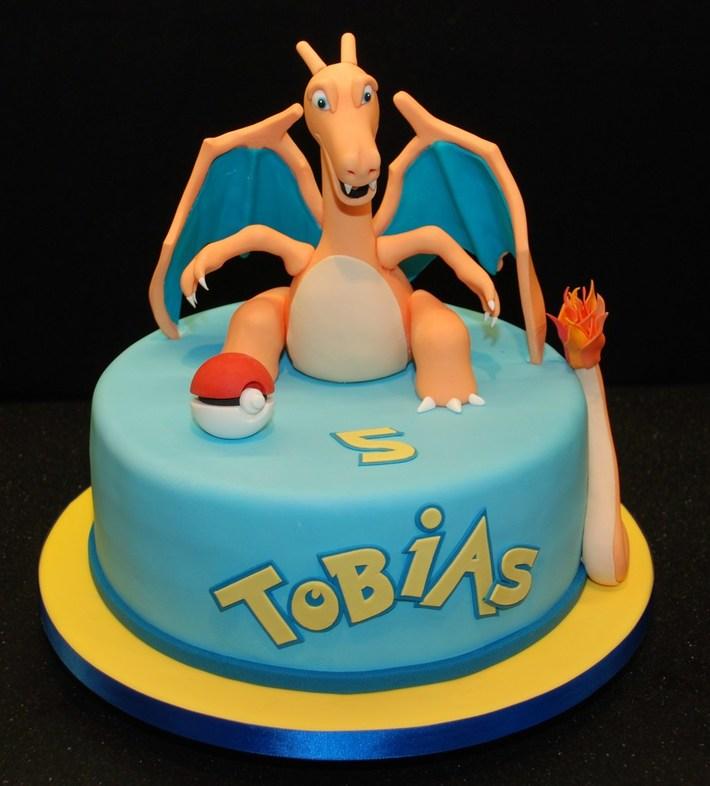 Remarkable Pokemon Birthday Cake Featuring Charizard Cake Decorating Funny Birthday Cards Online Alyptdamsfinfo