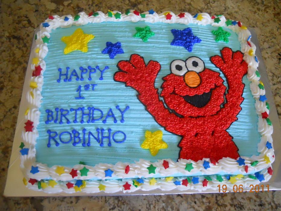 Superb Elmo 1St Birthday Half Sheet Cake Cake Decorating Community Personalised Birthday Cards Epsylily Jamesorg