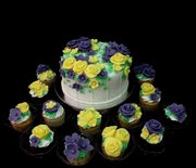 cake and cupakes with flowers