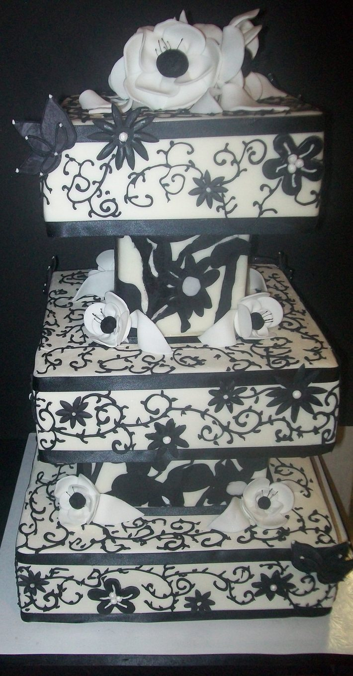 Black and White wedding Cake squares - 304F