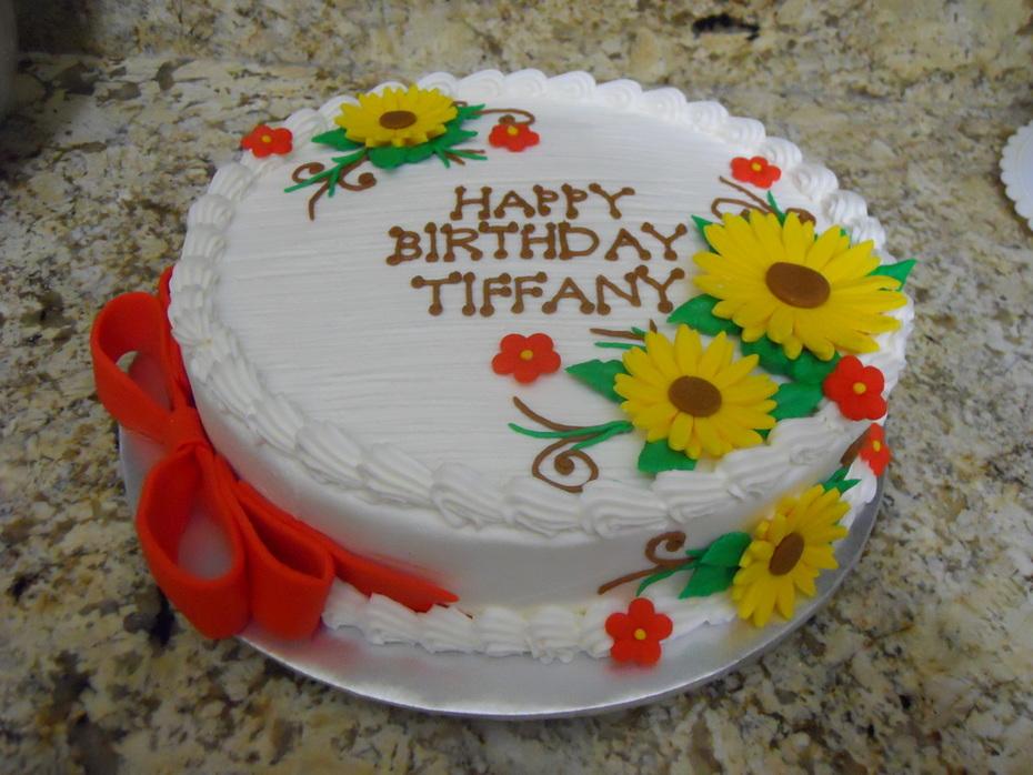 12' round Sunflower Birthday Cake