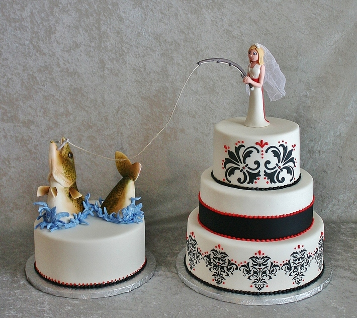 Fishing Bride with Walleye groom's cake