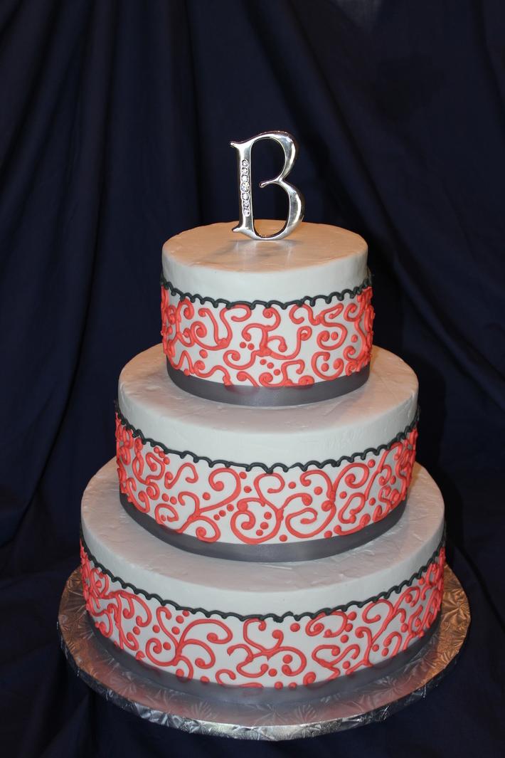 Coral and Gray Wedding Cake