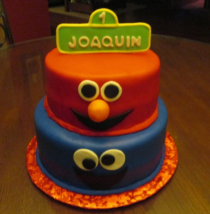 Sesame Street Elmo and Cookie Monster Birthday cake