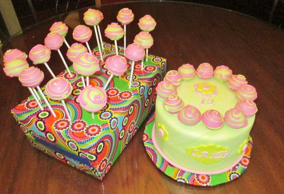 Neon Birthday cake and cakepops