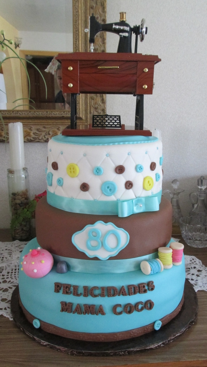 Sewing theme 80th Birthday cake