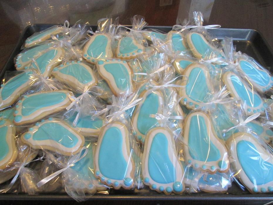 Baby Boy Footprint sugar cookies