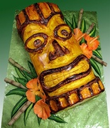 """Tiki Treat"" Tiki Mask Cake"