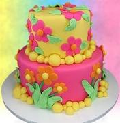 """Flower Power"" Wedding Cake"