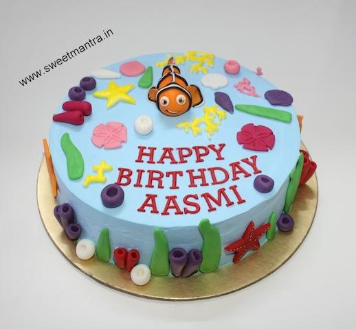 Sea, Finding Nemo theme dairy free designer Vegan birthday cake