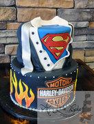 Superman and Harley-Davidson Groom Cake