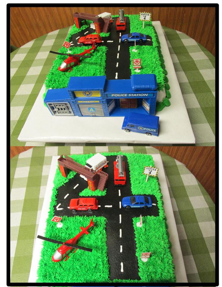 Number 4 police car cake