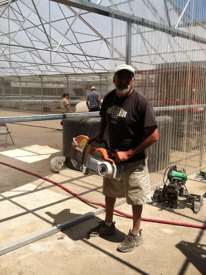 Rick Garcia ready to saw cut concrete
