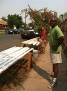 Shawn and Thomas prepping the lumber