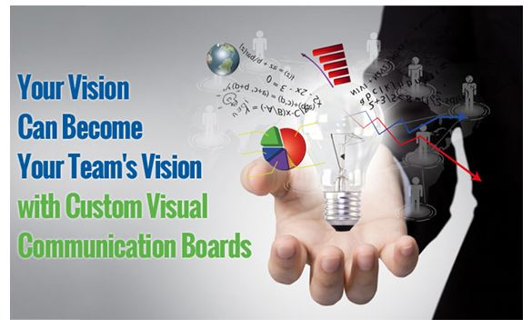 "Graphic of man holding a light bulb with the quote, ""Your vision can become your team' vision with custom visual communication boards."""