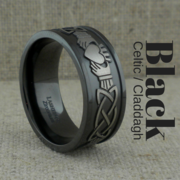 Black Zirconium Celtic Claddagh Wedding Ring