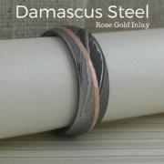 Angled 14K Rose Gold Stripe in Damascus Steel Wedding Ring