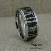 Cobalt Chrome Wedding Ring with Aspen Trees
