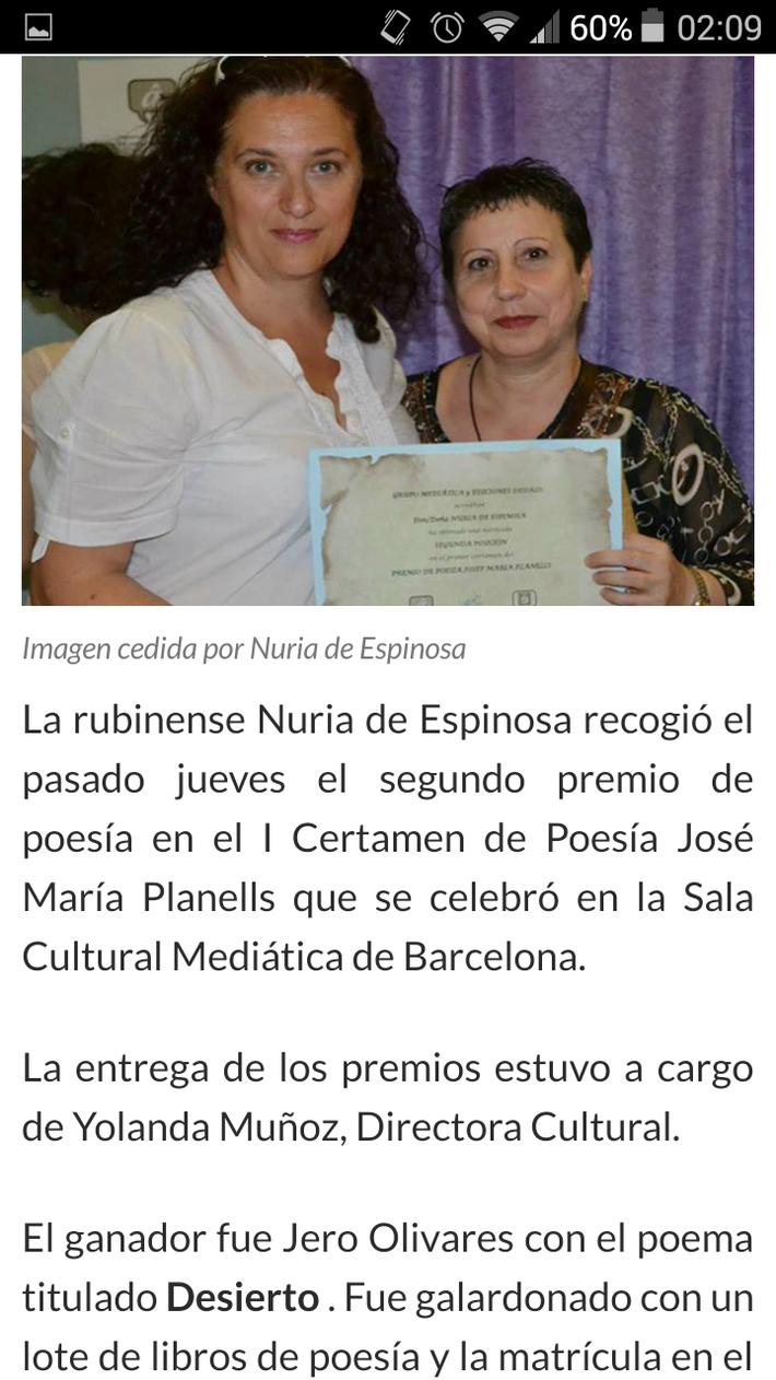 II premio Certamen Jose Maria Planells