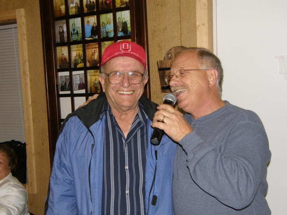 Vickies Dad Having happy Birthday sung to him at Cowboy Church