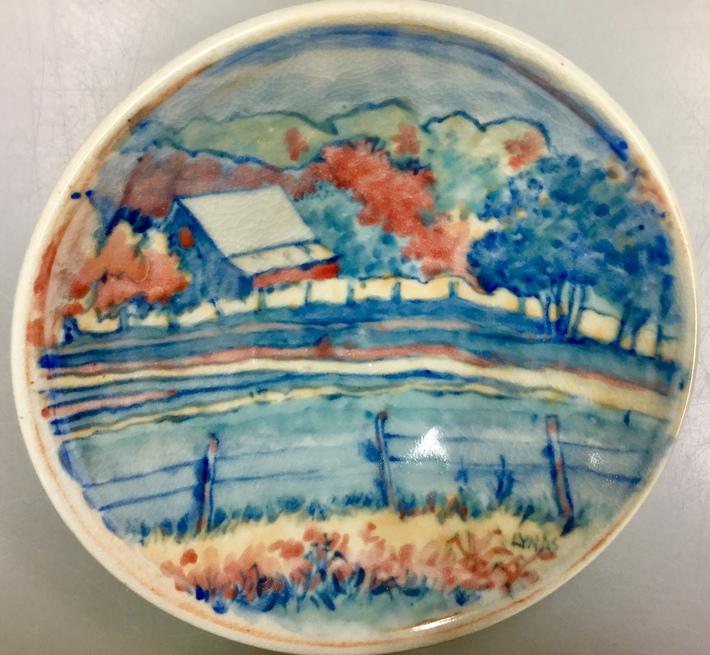 porcelain bowl with autumn farm scene