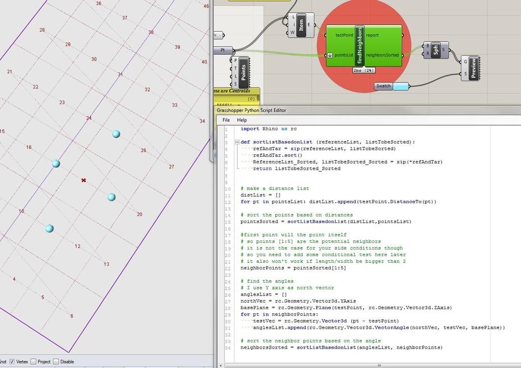 Grid Analysis - finding neighbors w/Python - Grasshopper