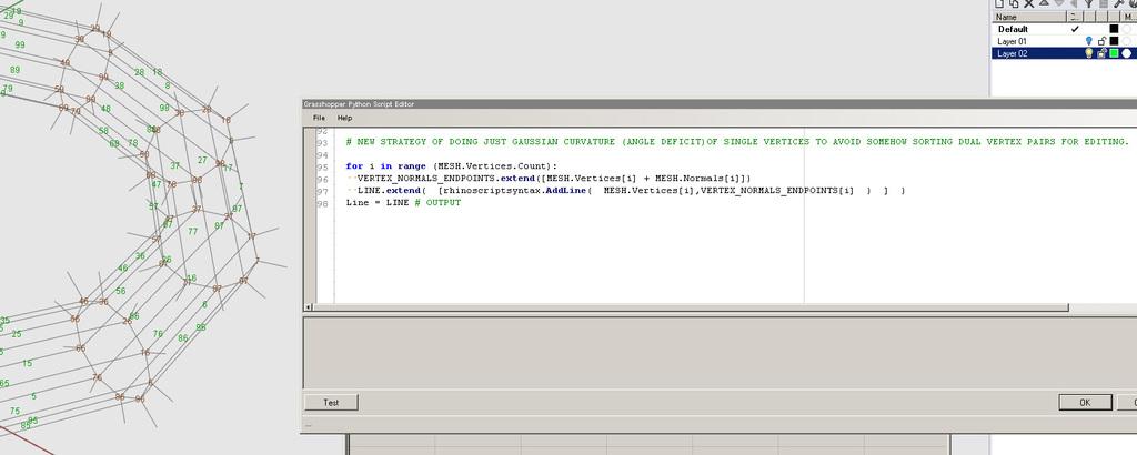 Curvature of mesh vertex points via Python? - Grasshopper