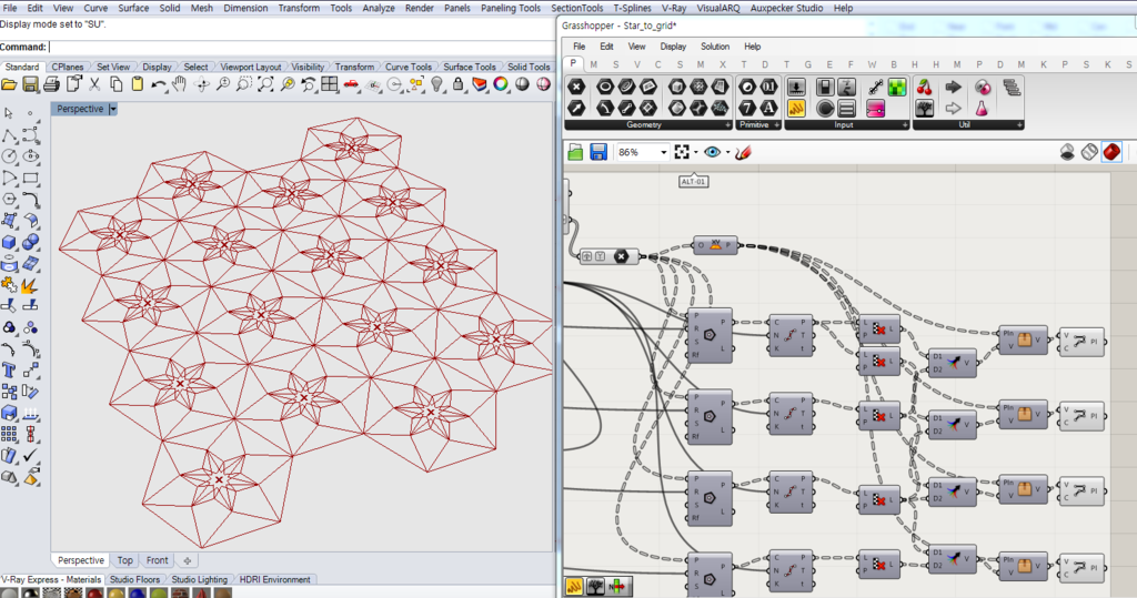 How generate my star shape on a hexagonal grid? – Grasshopper