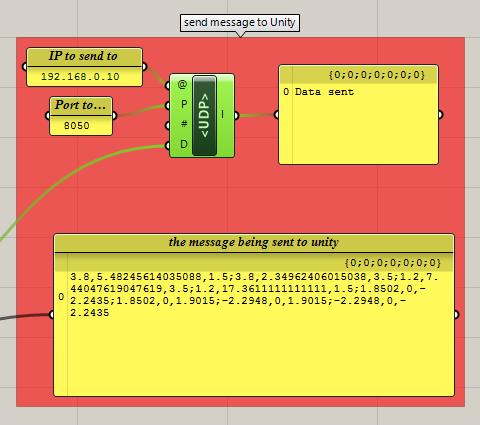 Data transfer between Unity and Grasshopper via UDP
