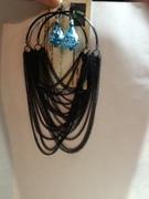 chain large hooop w- glass earrings