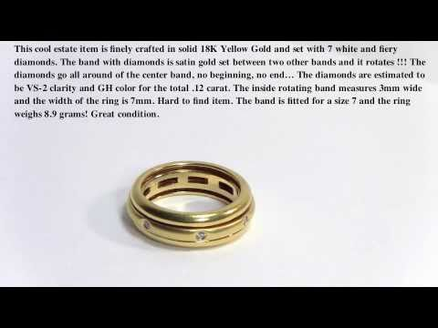 Rotating 18K Gold Eternity Ring with diamonds
