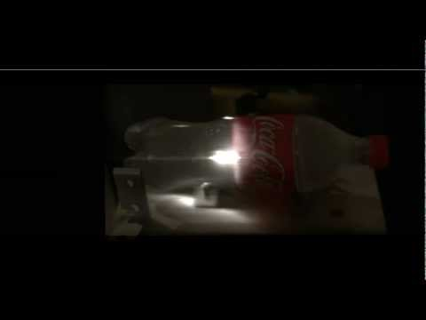 Laser pulse shooting through a bottle and visualized at a trillion FPS