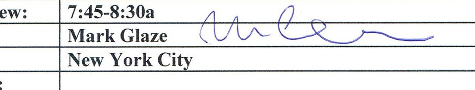 Mark Glaze autograph