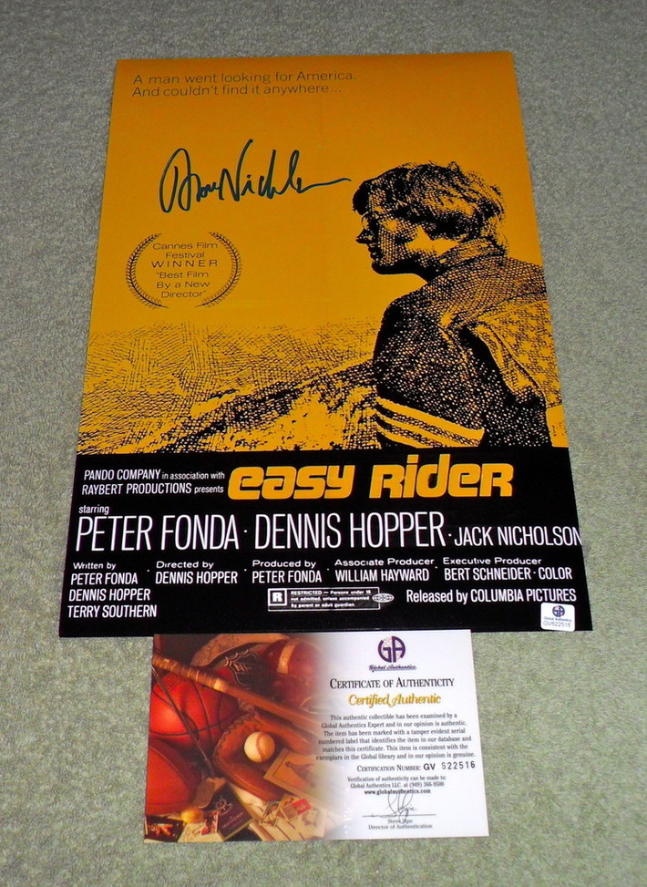 """Jack Nicholson """"Easy Rider"""" Signed Poster: GA COA-Dirty_Water_Ink"""