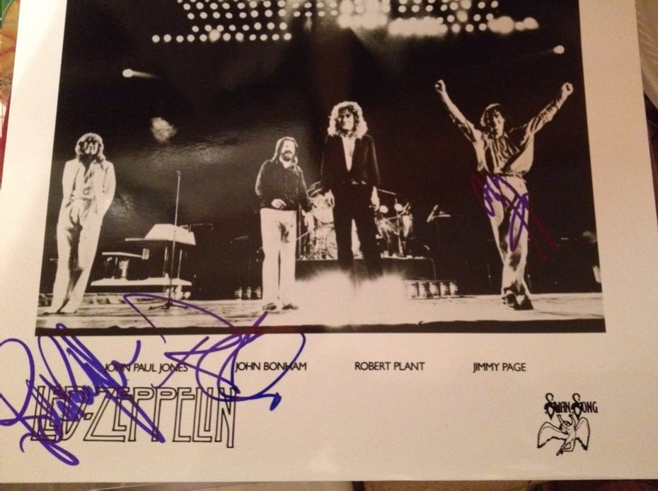 Led Zeppelin - Page, Plant and Jones autographed photo