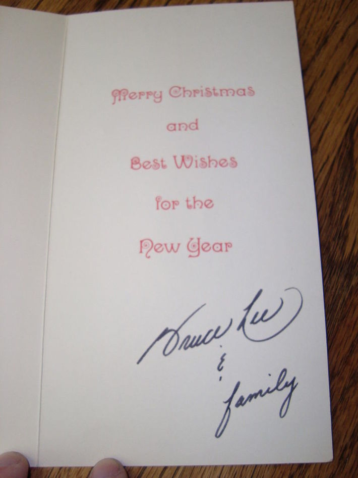 Bruce Lee signed Christmas Card