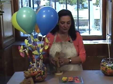 Como hacer un arreglo de jelly beans y rehiletes para fiesta