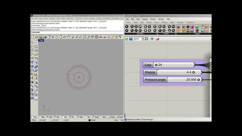 Parametric Gear in Rhinoceros + Grasshopper